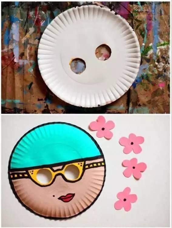 镂空纸盘两个圆圈,当眼睛.在帽子处,剪一些小花花,粘在一起,画上图案.