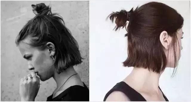 以这工主到 半丸子头不只适合长发, 更适合短发的妹子 短发版半丸子头