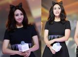 刘芸穿小黑裙戴猫耳朵 辣妈就是要甜辣范儿十足