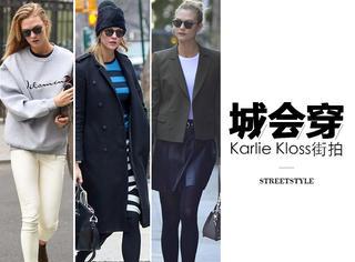 不需要T台依旧超模姿态,Karlie Kloss才是真正的街拍达人!