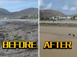 海滩突然被吹走,33年又突然被吹了回来