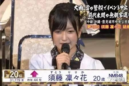 AKB48总选举上宣布结婚!须藤凛凛花引发轩然大波