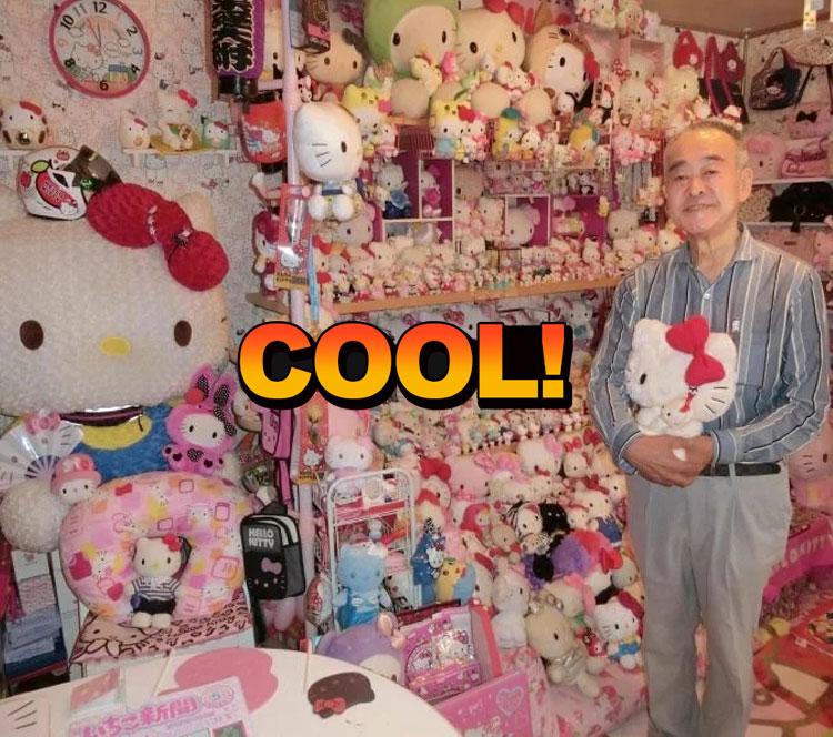 67岁大叔收藏近6000件HelloKitty物品,房子也刷成了粉粉的
