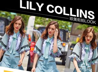 """莉莉柯林斯甜美出街,是薄荷蓝仙女裙加身的""""白雪公主""""啊!"""