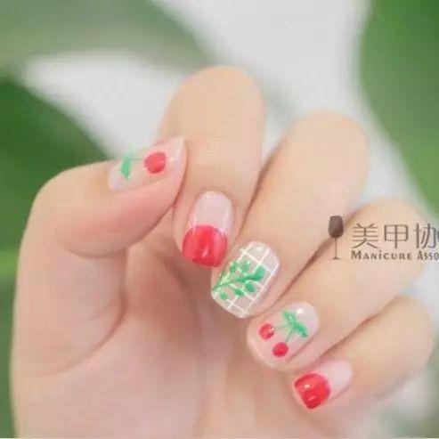【20170919diy美甲教程】可爱淑女手绘樱桃款